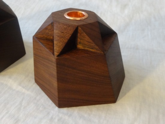 shabbat candlesticks in walnut and copper