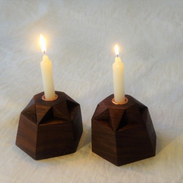 shabbat candlesticks in walnut and copper